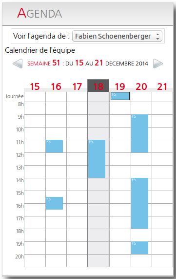 Visualisation du calendrier personnel sur eredak